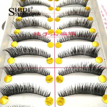 10 Pairs/Lot Handmade False Eyelashes Individual Tapered Fake Eye Lashes Makeup Winged Faux Eyelashes Faux Cils Extension #TW054