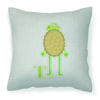 Alphabet T for Turtle Fabric Decorative Pillow BB5745PW1818