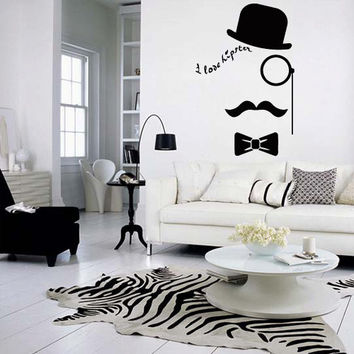 Wall decal decor decals art face love hipseter hat butterfly mustache glasses (m1009)