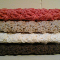 Four Cotton Dishcloths, Crochet Autumn Washcloths, Fall Home Decor, Brown, Off White, Taupe, Spiced Pumpkin, Coral, Cream,  Beige, Kitchen