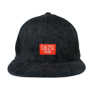 FAZE Trademark Corduroy Snapback Hat in charcoal