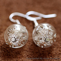 Nature Inspired Jewelry Real Dried Clover Earrings Gift (HM0043)