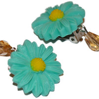 Clip on cabochon flower drop crystal earrings unique adorable gift