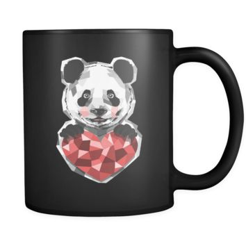 Cute Animal Panda Design with Heart on Black 11 oz Mug