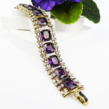 "Purple Rhinestone Bracelet with Clear Stones All Prong-set in Goldtone Metal Setting, Vintage 1970s Era, Measures 7-1/4"" Long 3/4"" Wide"