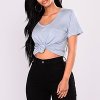Bella Basic V Neck Pocket Top - Vintage Blue