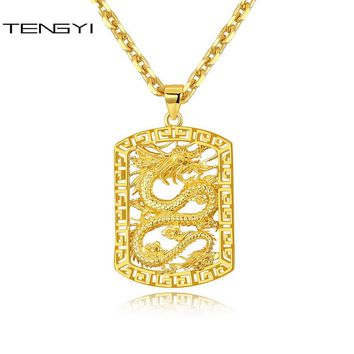 TENGYI Chinese Dragon Pendants & Necklaces Gold Copper Vintage/Classic Necklace Exquisite Jewelry Father's Day Gift 500mm TT985
