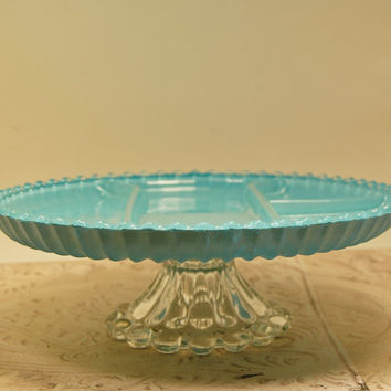Turquoise Heavy Glass Serving Plate  Vintage Boopie Candlewick aqua