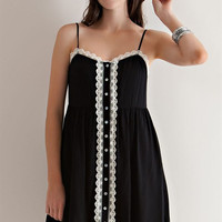 Button Down Baby Doll Dress - Black