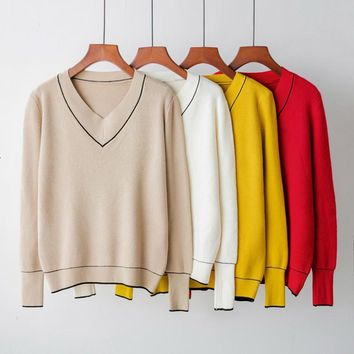 Mooirue Autumn Winter Women V-neck Sweater Knitted Long Sleeve Pullover Female Basic Cashmere Yellow Red Jumper Casual Sweater