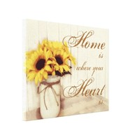 Home Is Where Sunflower Mason Jar Wrapped Canvas