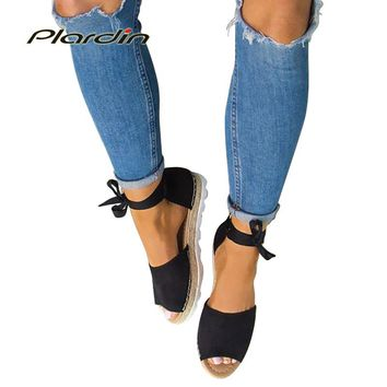 plardin 2018 Blasting straw fish mouth with thick bottom ankle strap  plus size sandals foreign trade in Europe lady sandals