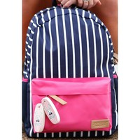 Backpack in Navy Stripe by Jadelynn Brooke