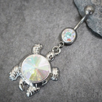 Turtle Navel Ring | Opal Belly Button Rings Jewelry | Dangle Silver Hanging Tortoise Sea Shell |w/ Super Reflective Aurora Borealis Crystals