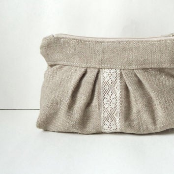 Linen Burlap Pleated Vintage Lace Zipper by JuneberryStitches