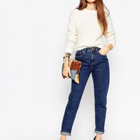 ASOS | ASOS Original Rigid Mom Jeans In Cherry Indigo Flat Wash at ASOS