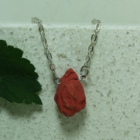 Pink Hop Cone Flower necklace  Beer enthusiast jewelry Stoneware Pottery
