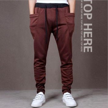 DCCKSP2 Mens Fashion Printed Casual Harem Sweat Pants Jogger Dance Taper Slacks Trousers