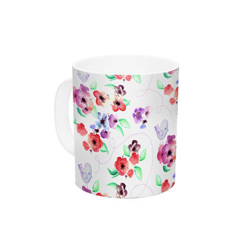 "Zara Martina Mansen ""Spring Flowers And Birds"" White Red Ceramic Coffee Mug"