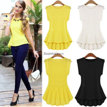 Ladies Women Lace Peplum Blouse Sleeveless Shirt Vest Doll Tank Tops S-XL ESY1