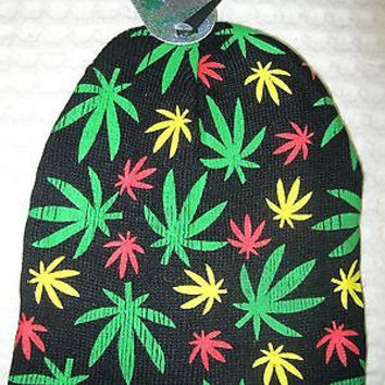 Rasta Green Yellow Red  Marijuana MJ Weed Multi Leaves Hat Cap Beanie Style-New!