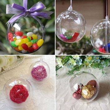 DKF4S 5pcs New 8cm Clear Christmas Decoration Hanging Ball Baubles Round Bauble Ornament Xmas Tree Home Decor Christmas Tree Xmas