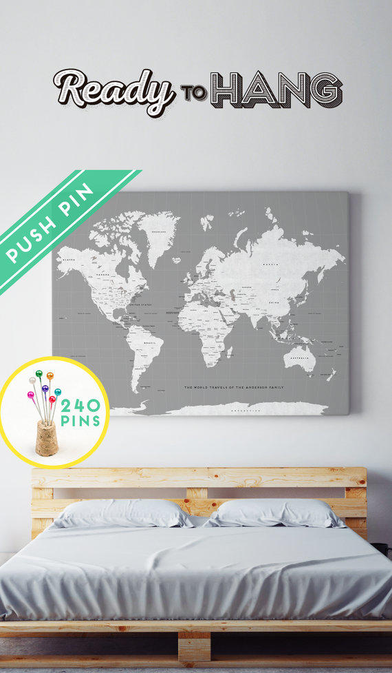 Large world map canvas choose color from macanaz shop large custom large world map rustic canvas gray white countries capitals usa and canada gumiabroncs Image collections