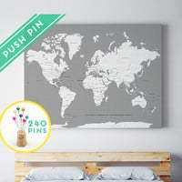 Custom Large World Map Rustic CANVAS Gray White - Countries, Capitals, USA and CANADA States - Personalized Gift Idea Pin It Map, 240 Pins