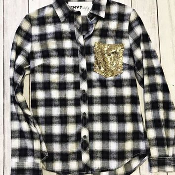 Last Chance Gold Sequin Pocket Black & White Plaid Button Up (S-2)