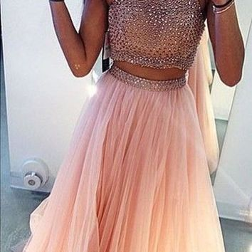 Pink Patchwork Grenadine Sequin Sleeveless Two Piece Bridesmaid Homecoming Party Maxi Dress