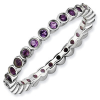 Small Amethyst Eternity Stackable Ring