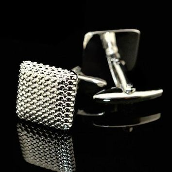 Bluelans Gentleman Men Business Shirt Cufflinks Wedding Party Gift Silver Color Cuff Link
