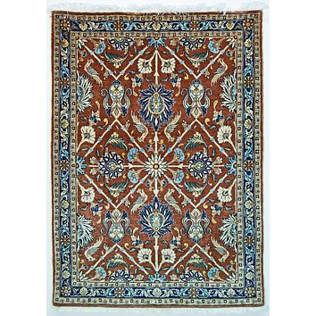 Oriental Veramin Irannian Tribal Rug, Orange/Dark Blue