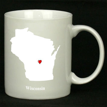 Wisconsin Love Map For Ceramic Mugs Coffee *