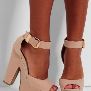 Frappuccino Nude Suede Effect Platform Shoes | Pink Boutique