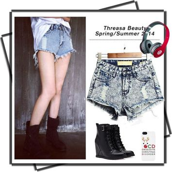 Ripped Holes Irregular Cats Denim High Rise Pants Shorts [11597542159]