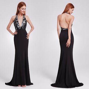 Sexy Evening Dress Ever Pretty EP07164 Deep -V Neck Open Back Long Mermaid Evening Party Formal Dress For Women Sequined 2018