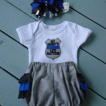 Thin Blue Line, Police Baby, Baby Girl Outfit, Ruffle Diaper Cover, Thin Blue Line Hairbow, My Family's Life Matters, Uncle, Mommy, Daddy,