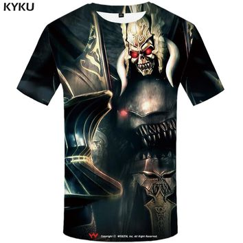 KYKU Grim Reaper T Shirt Men Black Skull T-shirt Punk Rock Clothes Metal Military 3d Printed Tshirt Hip Hop Mens Clothing Summer