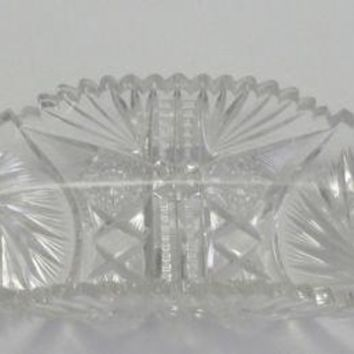 American Brilliant Period Cut Glass Orient celery dish, Antique Signed Fry