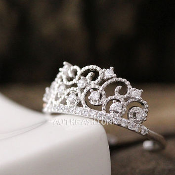 Adjustable Crystal Crown Ring Tiara Ring Princess ring Stacking ring Bridesmaid Gift Idea bycr12