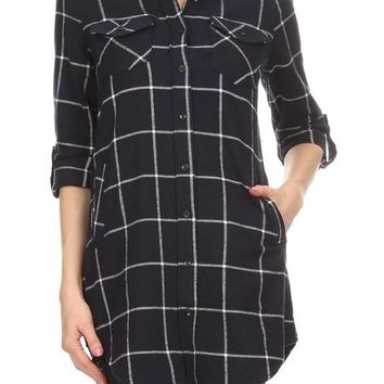 simple plaid button down flannel tunic