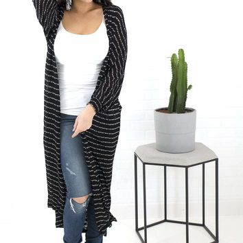 Women's Long Striped Cardigan with Open Front