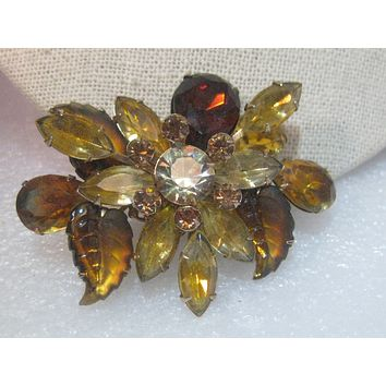 Vintage Gold Tone  Amber/Gold Semi-Frosted Leaf Rhinestone Brooch, , 1950-1960's