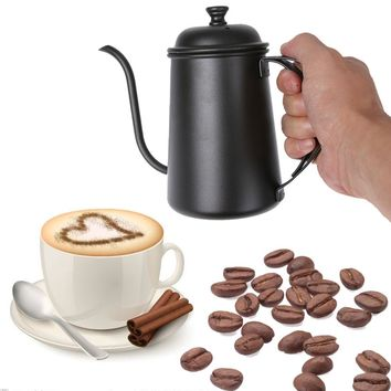 Stainless steel 650ml Coffee Tea Pot mounting bracket hand punch pot drip gooseneck spout Long Mouth kettle Teapot Black