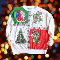 Large Ugly Christmas Sweater - Funny XMas Crewneck Sweatshirt Funny Gift - White Crewneck Sweater - Quirky Gift
