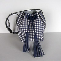 NWT J Crew Mini bucket bag in gingham Navy Ivory SOLD OUT SU16 $118 F1895