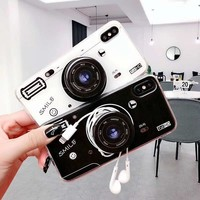 Old Styles Case for iPhone X Cases Vintage 3D Camera Soft Silicone TPU Cover for iPhone 6 6s 7 8 Plus Expanding Phone Holder