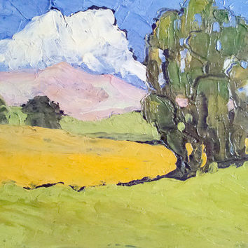 Original Impressionist Oil Painting CALIFORNIA Plein Air HILLS & EUCALYPTUS Landscape Rustic Art 11x14 Free Shipping Lynne French
