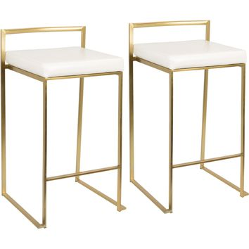 Fuji Contemporary Counter Stools, Gold & White PU (Set of 2)